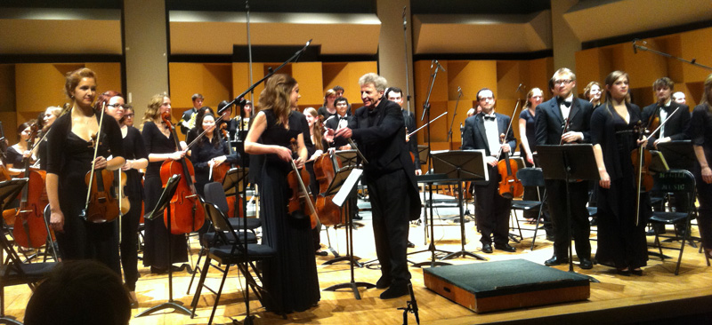 Conductor Alexis Hauser and McGill Symphony Orchestra musicians, © 2012 Andrew Fogarty